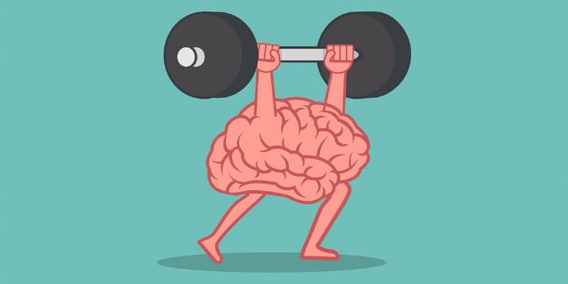 Illustration of a brain lifting a barbell over itself