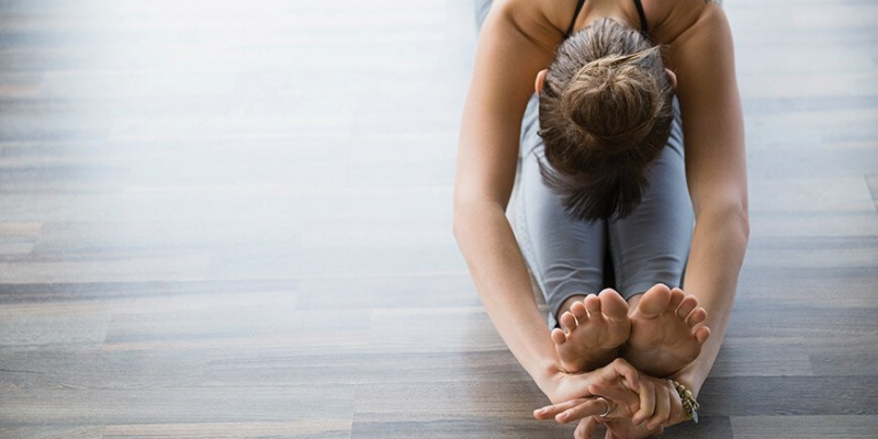 Person stretching past their toes